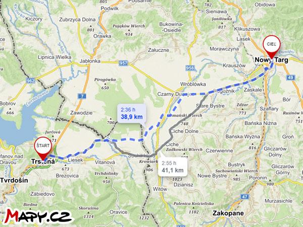 Cyklotrasa Trstená - Nowy Targ Mapa